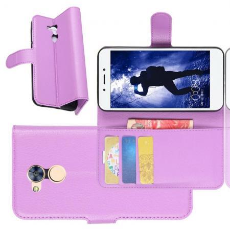 Флип чехол книжка с кошельком подставкой отделениями для карт и магнитной застежкой для Huawei Honor 6A Фиолетовый