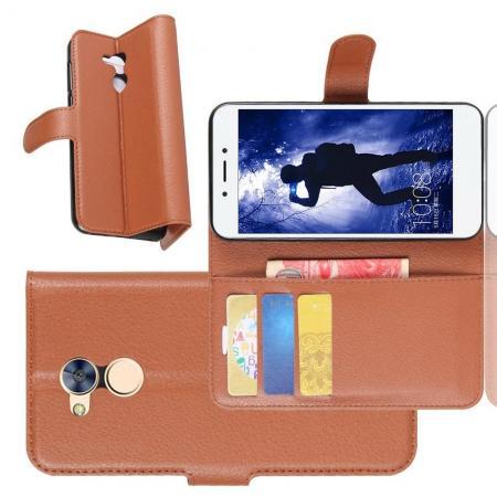 Флип чехол книжка с кошельком подставкой отделениями для карт и магнитной застежкой для Huawei Honor 6A Коричневый