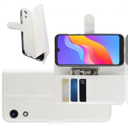 Флип чехол книжка с кошельком подставкой отделениями для карт и магнитной застежкой для Huawei Honor 8A Белый