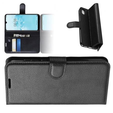 Флип чехол книжка с кошельком подставкой отделениями для карт и магнитной застежкой для Huawei Honor 8S / Y5 2019 Черный