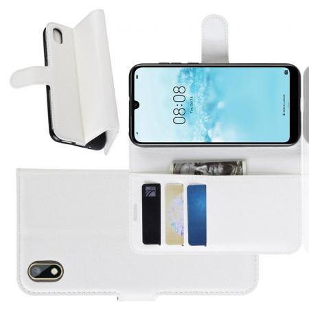 Флип чехол книжка с кошельком подставкой отделениями для карт и магнитной застежкой для Huawei Honor 8S / Y5 2019 Белый