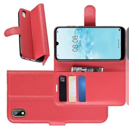 Флип чехол книжка с кошельком подставкой отделениями для карт и магнитной застежкой для Huawei Honor 8S / Y5 2019 Красный