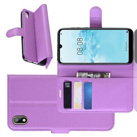 Флип чехол книжка с кошельком подставкой отделениями для карт и магнитной застежкой для Huawei Honor 8S / Y5 2019 Фиолетовый