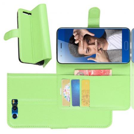 Флип чехол книжка с кошельком подставкой отделениями для карт и магнитной застежкой для Huawei Honor 9 Зеленый