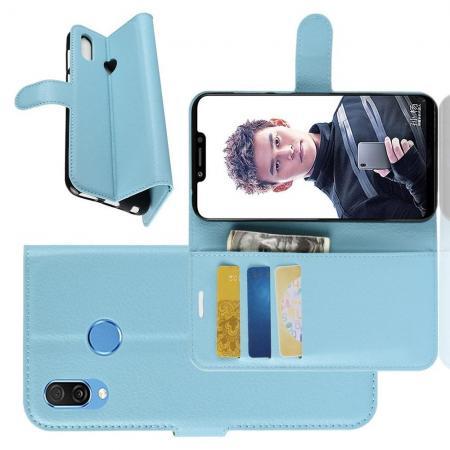 Флип чехол книжка с кошельком подставкой отделениями для карт и магнитной застежкой для Huawei Honor Play Голубой