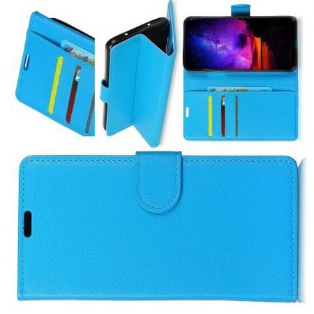 Флип чехол книжка с кошельком подставкой отделениями для карт и магнитной застежкой для Huawei Honor View 20 (V20) Голубой