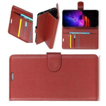 Флип чехол книжка с кошельком подставкой отделениями для карт и магнитной застежкой для Huawei Honor View 20 (V20) Коричневый