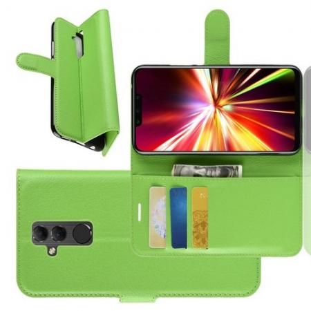 Флип чехол книжка с кошельком подставкой отделениями для карт и магнитной застежкой для Huawei Mate 20 Lite Зеленый
