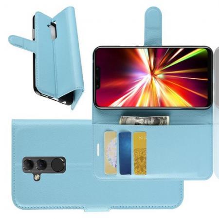 Флип чехол книжка с кошельком подставкой отделениями для карт и магнитной застежкой для Huawei Mate 20 Lite Голубой