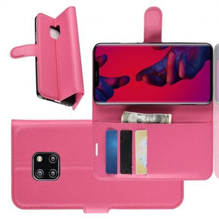 Флип чехол книжка с кошельком подставкой отделениями для карт и магнитной застежкой для Huawei Mate 20 Pro Розовый