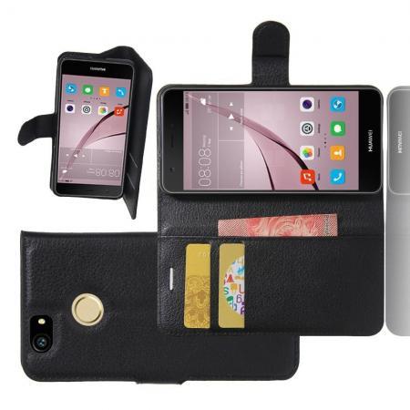 Флип чехол книжка с кошельком подставкой отделениями для карт и магнитной застежкой для Huawei Nova Черный