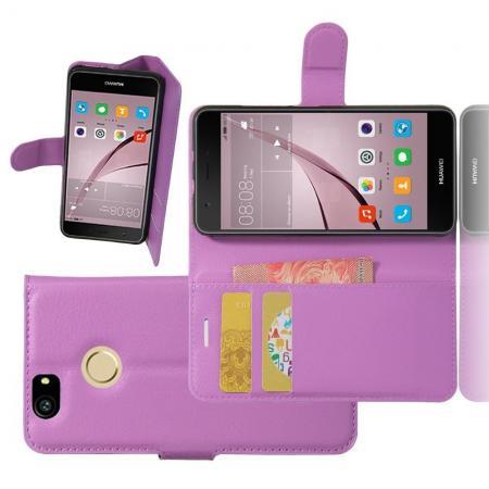 Флип чехол книжка с кошельком подставкой отделениями для карт и магнитной застежкой для Huawei Nova Фиолетовый
