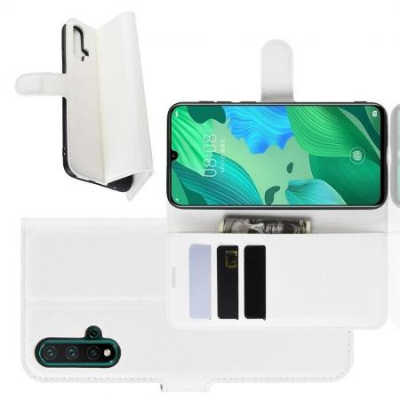 Флип чехол книжка с кошельком подставкой отделениями для карт и магнитной застежкой для Huawei Nova 5 Белый