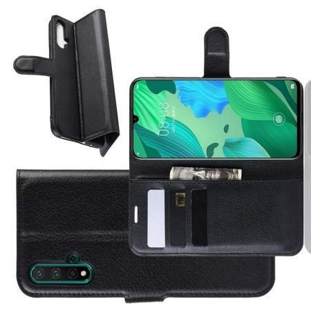 Флип чехол книжка с кошельком подставкой отделениями для карт и магнитной застежкой для Huawei Nova 5 Черный