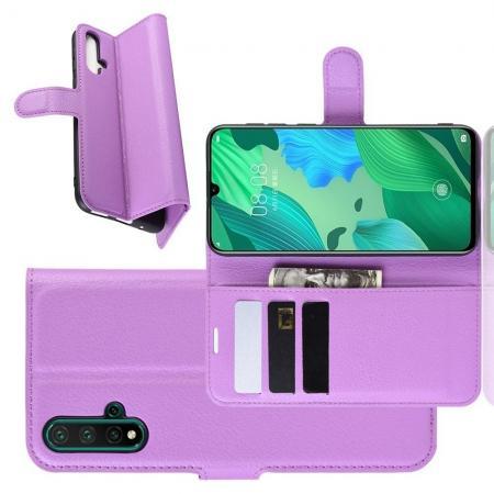 Флип чехол книжка с кошельком подставкой отделениями для карт и магнитной застежкой для Huawei Nova 5 Фиолетовый