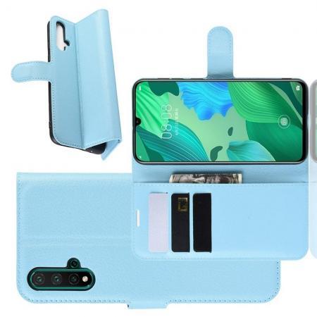 Флип чехол книжка с кошельком подставкой отделениями для карт и магнитной застежкой для Huawei Nova 5 Голубой