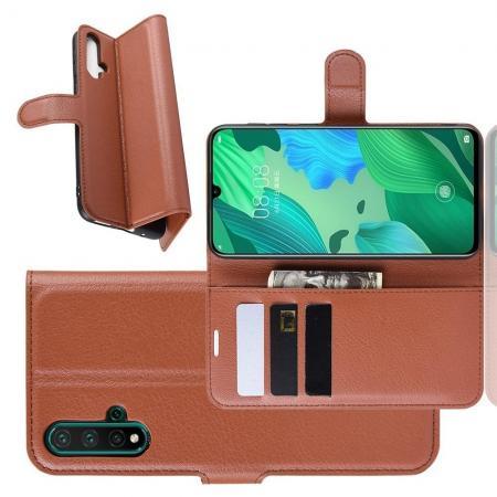 Флип чехол книжка с кошельком подставкой отделениями для карт и магнитной застежкой для Huawei Nova 5 Коричневый