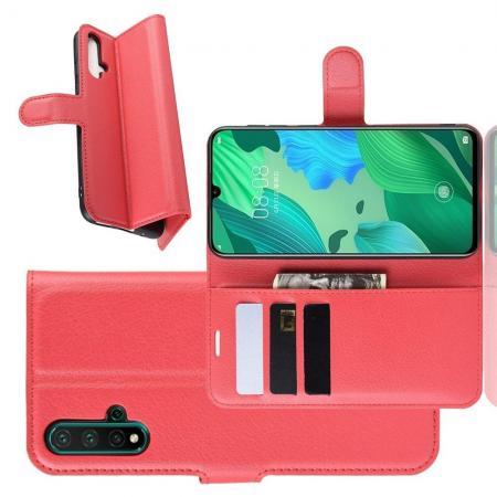 Флип чехол книжка с кошельком подставкой отделениями для карт и магнитной застежкой для Huawei Nova 5 Красный