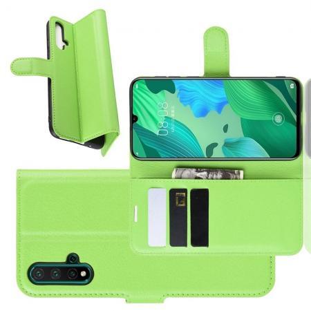 Флип чехол книжка с кошельком подставкой отделениями для карт и магнитной застежкой для Huawei Nova 5 Зеленый