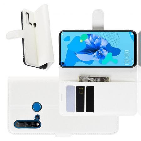 Флип чехол книжка с кошельком подставкой отделениями для карт и магнитной застежкой для Huawei nova 5i / P20 lite 2019 Белый
