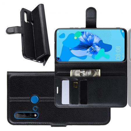 Флип чехол книжка с кошельком подставкой отделениями для карт и магнитной застежкой для Huawei nova 5i / P20 lite 2019 Черный
