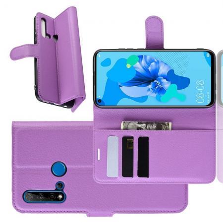 Флип чехол книжка с кошельком подставкой отделениями для карт и магнитной застежкой для Huawei nova 5i / P20 lite 2019 Фиолетовый