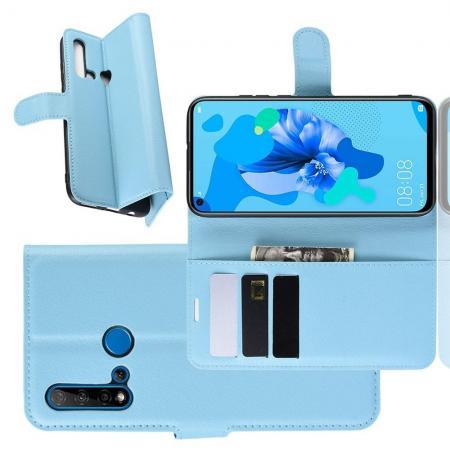 Флип чехол книжка с кошельком подставкой отделениями для карт и магнитной застежкой для Huawei nova 5i / P20 lite 2019 Голубой