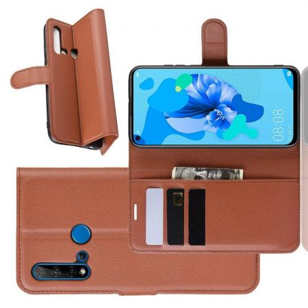Флип чехол книжка с кошельком подставкой отделениями для карт и магнитной застежкой для Huawei nova 5i / P20 lite 2019 Коричневый