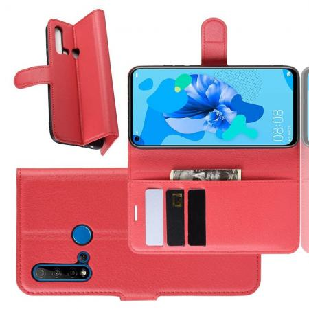 Флип чехол книжка с кошельком подставкой отделениями для карт и магнитной застежкой для Huawei nova 5i / P20 lite 2019 Красный