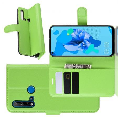 Флип чехол книжка с кошельком подставкой отделениями для карт и магнитной застежкой для Huawei nova 5i / P20 lite 2019 Зеленый