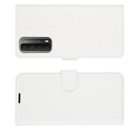 Флип чехол книжка с кошельком подставкой отделениями для карт и магнитной застежкой для Huawei P Smart 2021 Белый