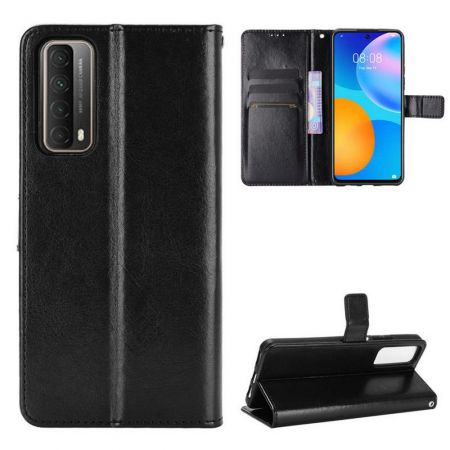 Флип чехол книжка с кошельком подставкой отделениями для карт и магнитной застежкой для Huawei P Smart 2021 Черный