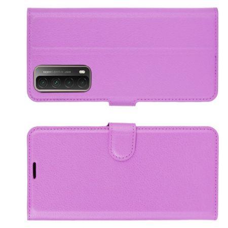 Флип чехол книжка с кошельком подставкой отделениями для карт и магнитной застежкой для Huawei P Smart 2021 Фиолетовый