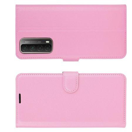 Флип чехол книжка с кошельком подставкой отделениями для карт и магнитной застежкой для Huawei P Smart 2021 Розовый цвет