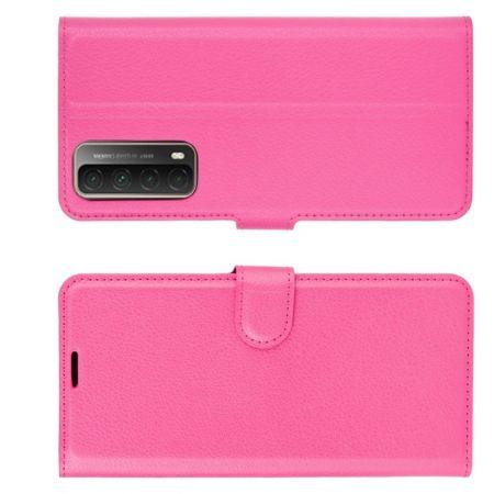 Флип чехол книжка с кошельком подставкой отделениями для карт и магнитной застежкой для Huawei P Smart 2021 Розовый