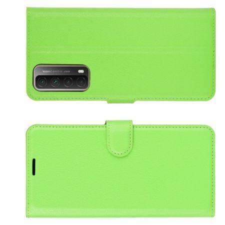 Флип чехол книжка с кошельком подставкой отделениями для карт и магнитной застежкой для Huawei P Smart 2021 Зеленый