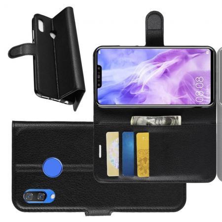 Флип чехол книжка с кошельком подставкой отделениями для карт и магнитной застежкой для Huawei P smart+ / Nova 3i Черный