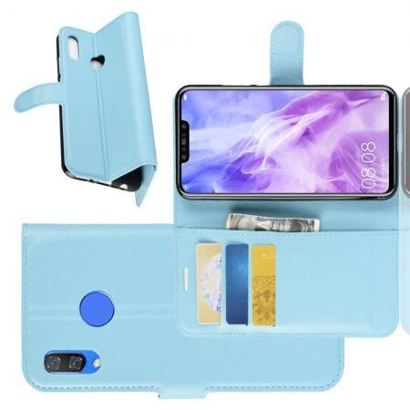 Флип чехол книжка с кошельком подставкой отделениями для карт и магнитной застежкой для Huawei P smart+ / Nova 3i Голубой