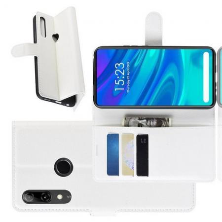 Флип чехол книжка с кошельком подставкой отделениями для карт и магнитной застежкой для Huawei P Smart Z Белый