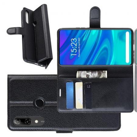 Флип чехол книжка с кошельком подставкой отделениями для карт и магнитной застежкой для Huawei P Smart Z Черный