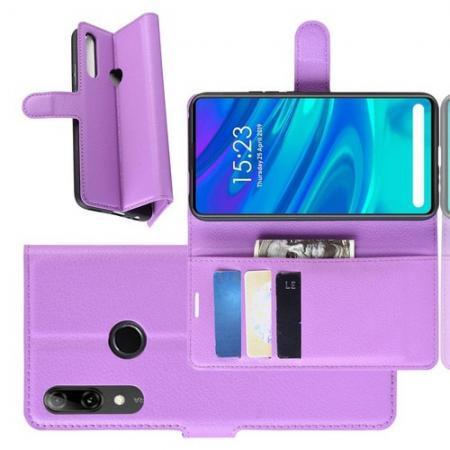 Флип чехол книжка с кошельком подставкой отделениями для карт и магнитной застежкой для Huawei P Smart Z Фиолетовый