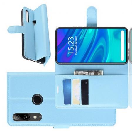 Флип чехол книжка с кошельком подставкой отделениями для карт и магнитной застежкой для Huawei P Smart Z Голубой