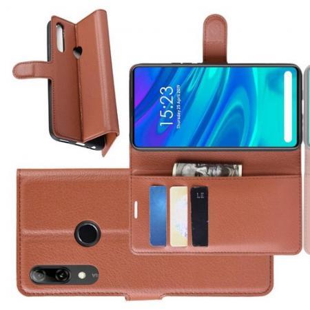 Флип чехол книжка с кошельком подставкой отделениями для карт и магнитной застежкой для Huawei P Smart Z Коричневый