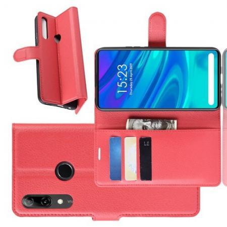 Флип чехол книжка с кошельком подставкой отделениями для карт и магнитной застежкой для Huawei P Smart Z Красный
