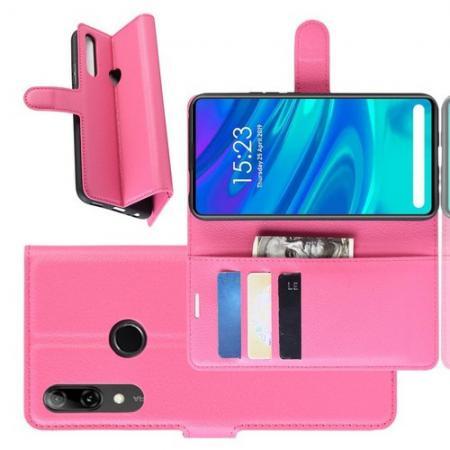 Флип чехол книжка с кошельком подставкой отделениями для карт и магнитной застежкой для Huawei P Smart Z Розовый
