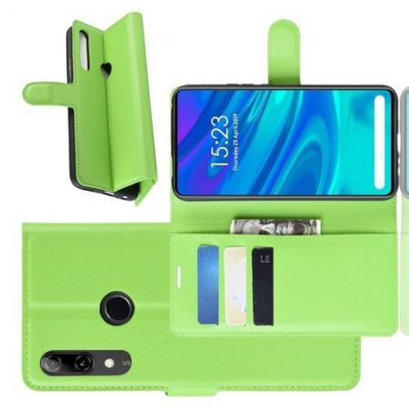 Флип чехол книжка с кошельком подставкой отделениями для карт и магнитной застежкой для Huawei P Smart Z Зеленый