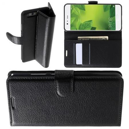 Флип чехол книжка с кошельком подставкой отделениями для карт и магнитной застежкой для Huawei P10 Черный