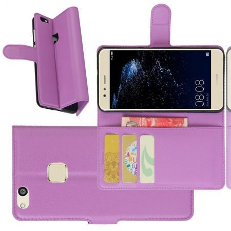 Флип чехол книжка с кошельком подставкой отделениями для карт и магнитной застежкой для Huawei P10 Lite Фиолетовый