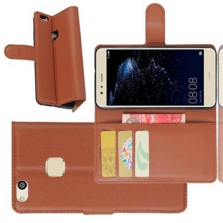 Флип чехол книжка с кошельком подставкой отделениями для карт и магнитной застежкой для Huawei P10 Lite Коричневый