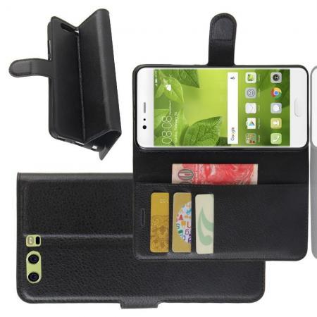 Флип чехол книжка с кошельком подставкой отделениями для карт и магнитной застежкой для Huawei P10 Plus Черный
